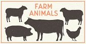 Vector Farm Animals Vintage Set. Silhouettes Of Cow, Pig, Sheep, Lamb, Hen. Farm Animals Icons Isola poster