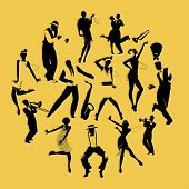 Silhouettes Of Dancers Dancing Charleston And Jazz Musicians poster