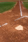 foto of infield  - Baseball Infield at Home Plate looking toward First Base - JPG