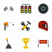 Car Race Icons Set. Flat Illustration Of 9 Car Race Icons For Web poster