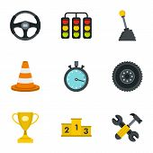 Car Racing Icons Set. Flat Illustration Of 9 Car Racing Icons For Web poster