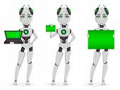 Robot With Artificial Intelligence, Female Bot, Set Of Three Poses. Cute Cartoon Character Holding L poster