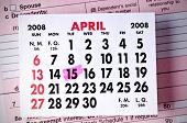 image of lien  - Calendar Showing the April 15th Tax Deadline - JPG