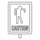 Zombie Road Sign Icon. Outline Illustration Of Zombie Road Sign Icon For Web poster