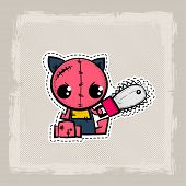 Halloween Stitch Zombie Kitty Voodoo Doll. Evil Cat Sewing Monster. Cute Colored Vector Halftone Sti poster