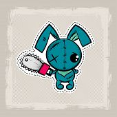 Halloween Stitch Bunny, Rabbit Zombie Voodoo Doll. Evil Sewing Monster. Cute Colored Vector Halftone poster