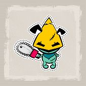 Halloween Stitch Zombie Voodoo Doll. Evil Sewing Monster. Cute Colored Vector Halftone Sticker Sketc poster