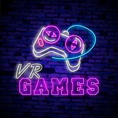 Vr Games Neon Sign Vector. Virtual Reality Logotype Games, Emblem In Modern Trend Design. Virtual Re poster
