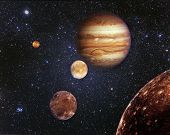 Planet Jupiter And His Satellites In Outer Space. Jupiter Is The Fifth Planet From The Sun And The L poster