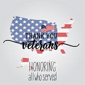 Thank You Veterans. Honoring All Who Served. United State Of America, U.s.a Veterans Day Design. poster