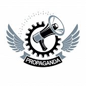Vector Winged Logo Composed With Megaphone Equipment Surrounded By Engineering Cog Wheel. Proletaria poster