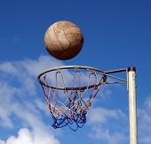 image of netball  - Ball ready to drop through the hoop - JPG