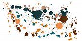 Graffiti Spray Stains Grunge Background Vector. Rusty Ink Splatter, Spray Blots, Dirt Spot Elements, poster