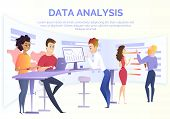 Business Data Analysis Cartoon Vector Concept With Group Of Data Analysis Specialists, Financial Ana poster