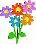 pic of happy-face  - bunch of flowers with happy faces - JPG