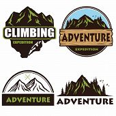 Camping Logo Set Design, Templates, Outdoor Adventure, Mountains And Forest Expeditions. Vintage Emb poster