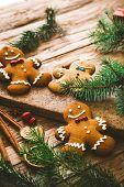 Christmas Food. Gingerbread Man Cookies In Christmas Setting. Xmas Dessert. Christmas Table poster