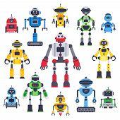 Flat Bots And Robots. Robotic Bot Mascot, Humanoid Robot And Cute Chatbot Assistant Vector Flat Char poster