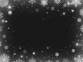 Snowed Border Frame. Christmas Holiday Snow, Clear Frost Blizzard Snowflakes And Silver Snowflake Ve poster