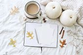 Autumn Breakfast In Bed Composition. Blank Cards, Notebook Mockup. Cup Of Coffee, White Pumpkins, Sw poster