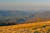 stock photo of cade  - Evening Haze on Gregory Bald looking at Cades Cove in The Smoky Mountains - JPG