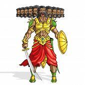 picture of ravan  - vector illustration of Raavana with ten head holding sword - JPG