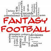 Постер, плакат: Фэнтези футбол слово облако концепция в красный & черный