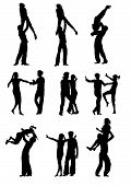 pic of poodle skirt  - vector drawing men and women dancing rock  - JPG