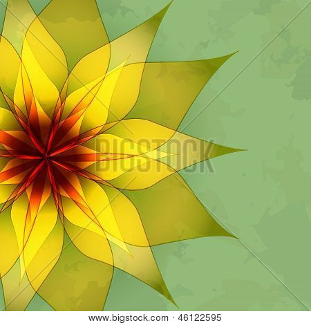 Vintage Abstract Green Background With Flower poster