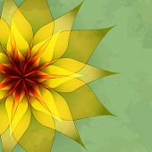 picture of sun flare  - Vintage abstract green background with golden flower - JPG
