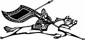 picture of valkyrie  - Woodcut style image of a Norse Valkyrie riding a horse waving a spear - JPG