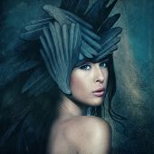 picture of goddess  - fantasy warrior goddess with helmet - JPG