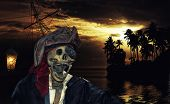 stock photo of plunder  - Pirate skeleton in the caribbeans - JPG