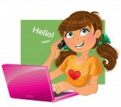Brown-haired gir pink laptop with phone and