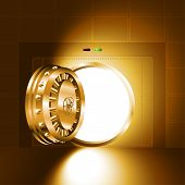 pic of vault  - Light through an open door of the bank safe  - JPG