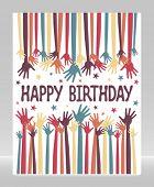 stock photo of reach the stars  - Happy birthday hands vector - JPG