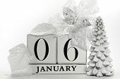 Save The Date Calendar With White Winter Theme Colors, Snow Covered Pine Tree, And Poinsettia Flower