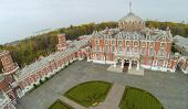 MOSCOW - OCT 10: View from unmanned quadrocopter on beautiful building of Petroff Palace and green l