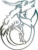 Silver capricorn Astrology sign Vector zodiac