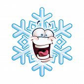 foto of laugh out loud  - Cartoon illustration of a snowflake emoticon laughing out loud - JPG