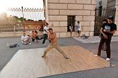 Young People Have Fun By Break Dancing At Vienna Hofburg