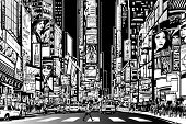 image of cabs  - Vector Illustration of a street in New York city at night - JPG