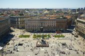 Milan, Lombardy, Italy, May 28: Piazza del duomo, the centre of the historic Milan city as seen from