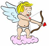 foto of ero  - vector illustration of a cupid with bow and arrow - JPG