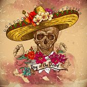 image of mexican fiesta  - Skull in sombrero with flowers Day of The Dead - JPG