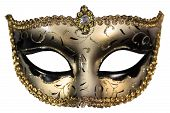 picture of masquerade mask  - Carnival masquerade mask Christmas black gold white background silver New year - JPG