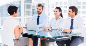 image of half-dressed  - Recruiters checking the candidate during a job interview at office - JPG