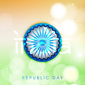 foto of ashoka  - Happy Indian Republic Day concept with Ashoka Wheel on national flag background - JPG