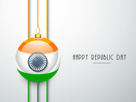 picture of ashoka  - Happy Indian Republic Day concept with glossy ball in national flag colors with Ashoka Wheel on grey background - JPG