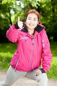 picture of mongolian  - Mongolian woman listening to music and training - JPG